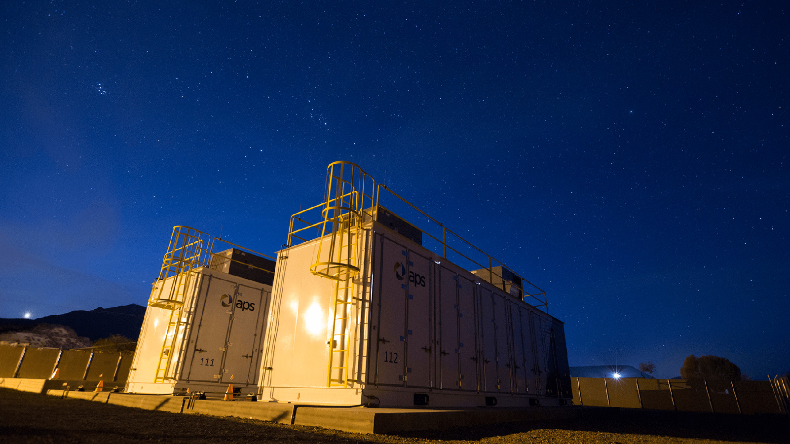 Punkin Center battery storage facility at night.