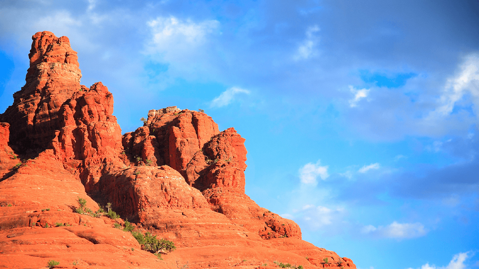 Arizona red rocks on a sunny day with blue sky.