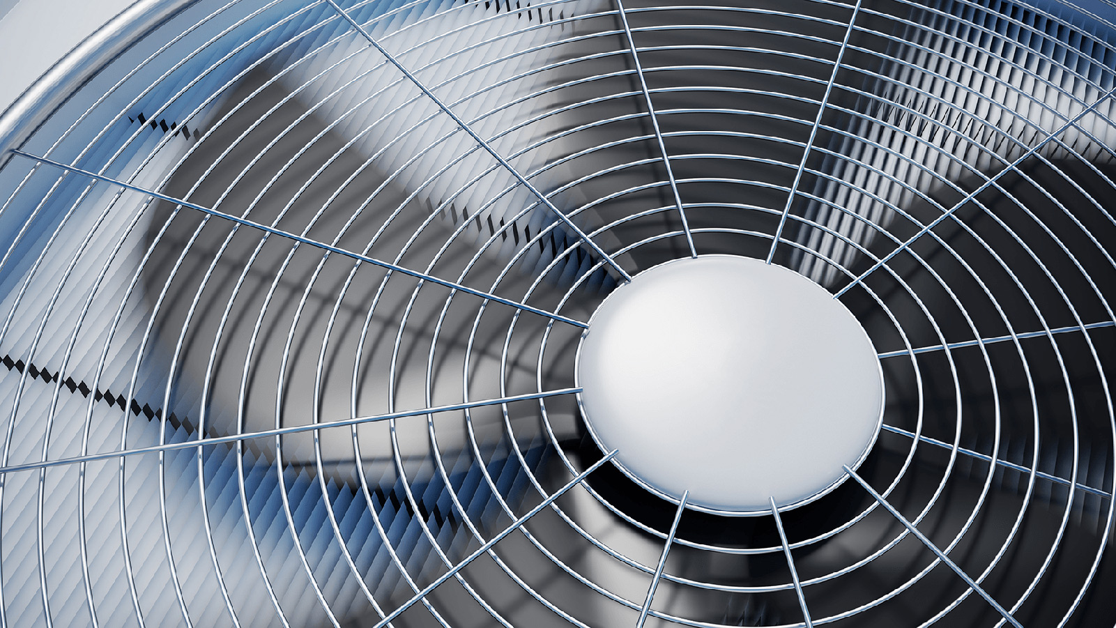 Close up view of an HVAC fan.