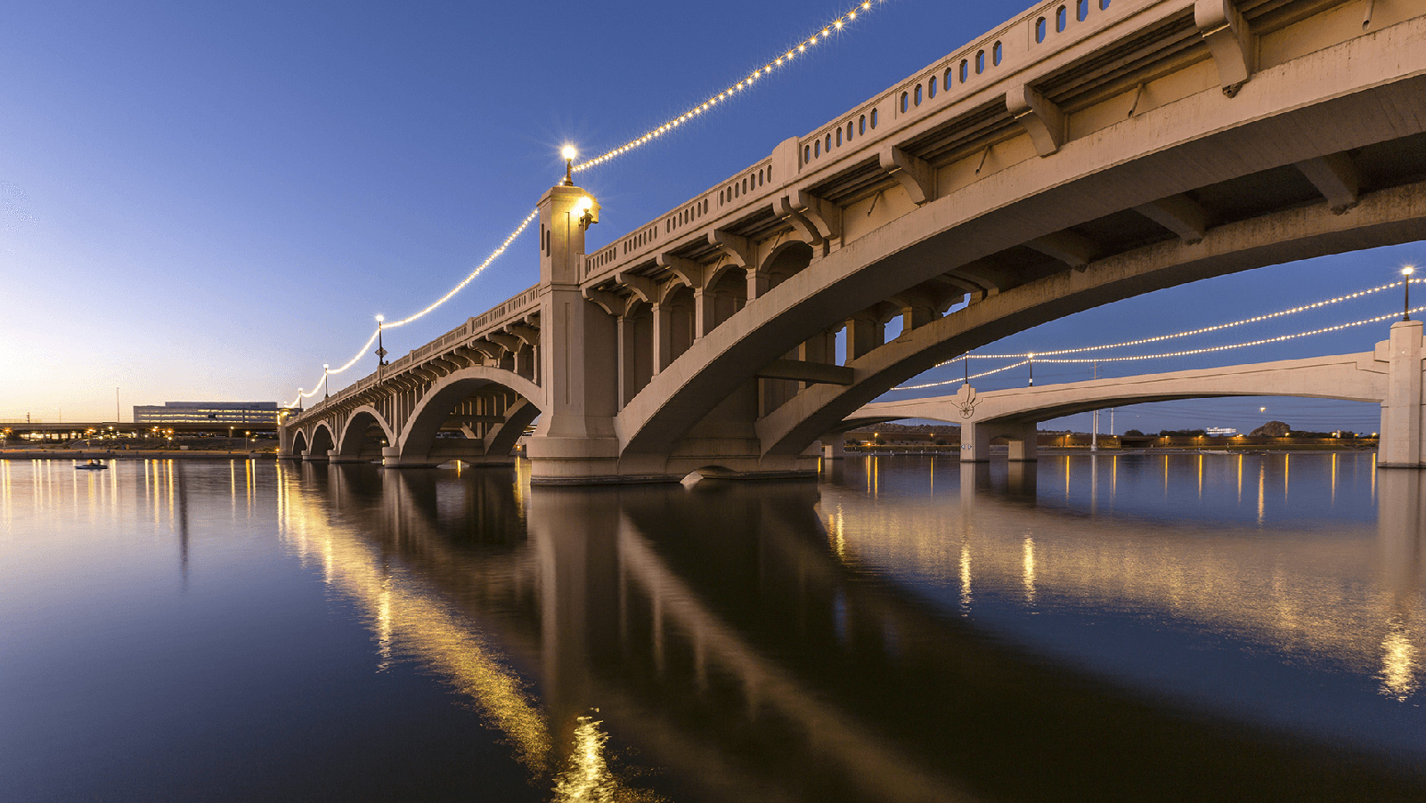 Tempe Town Lake bridge at dusk.