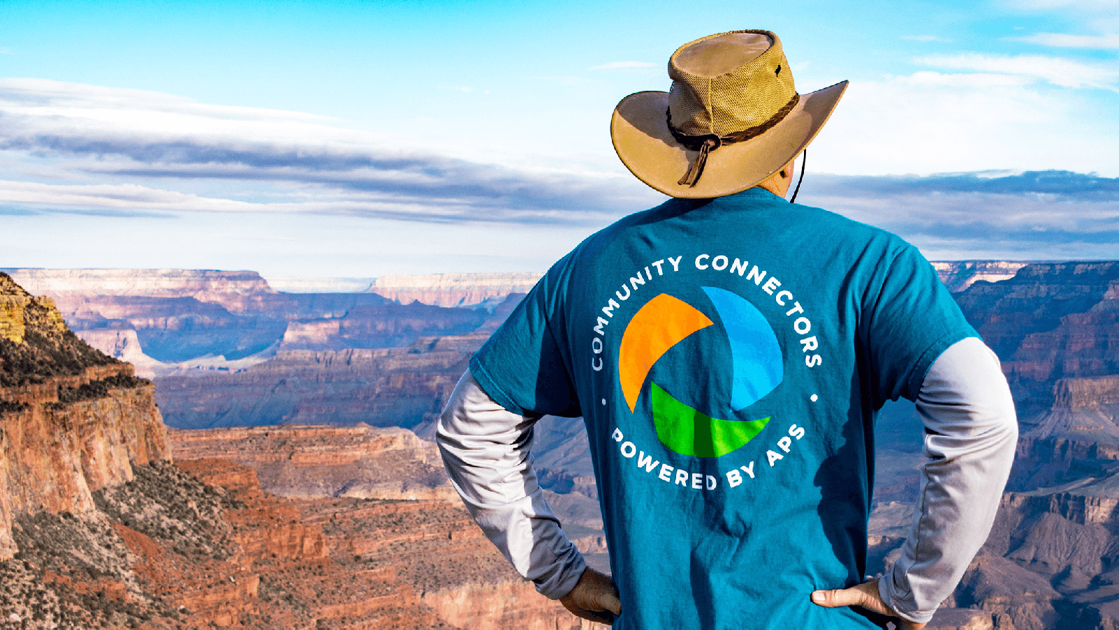 APS volunteer looking out across the Grand Canyon.