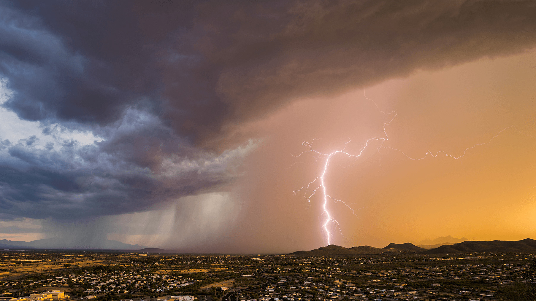 Lightning strike during a valley storm.