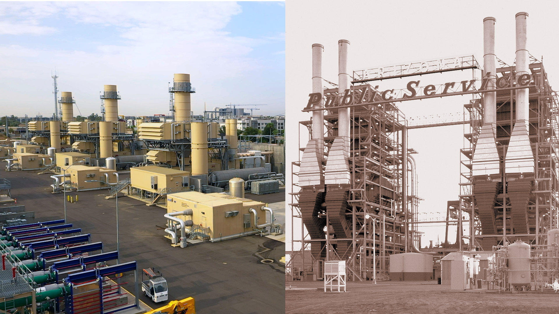 A photo of the new units at the Ocotillo Power Plant juxtaposed with an image of the old units.