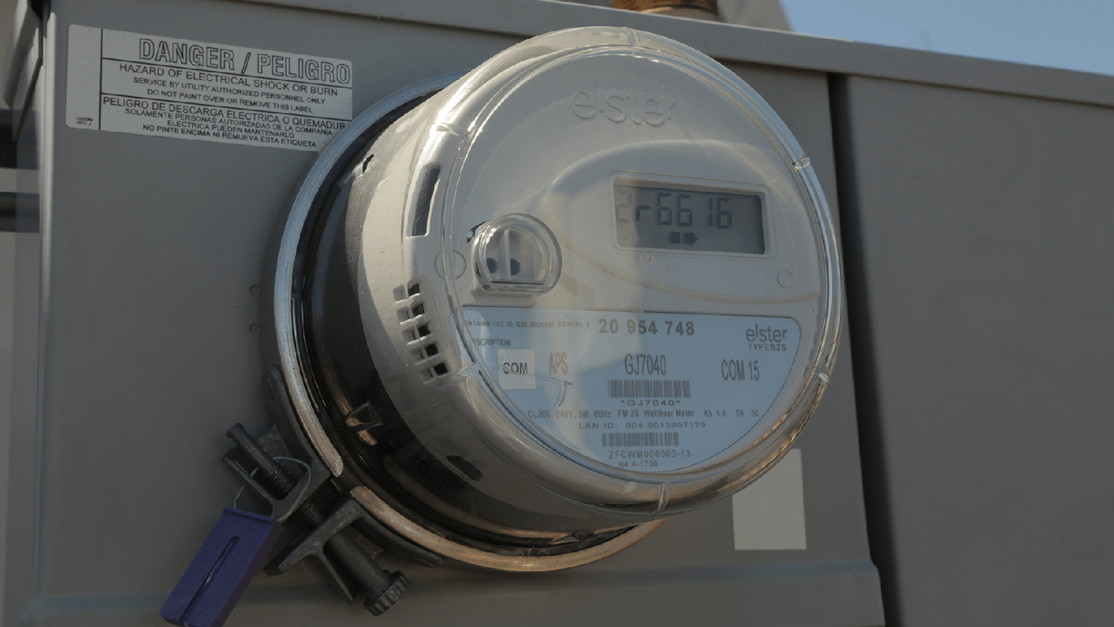 Close up view of a meter.